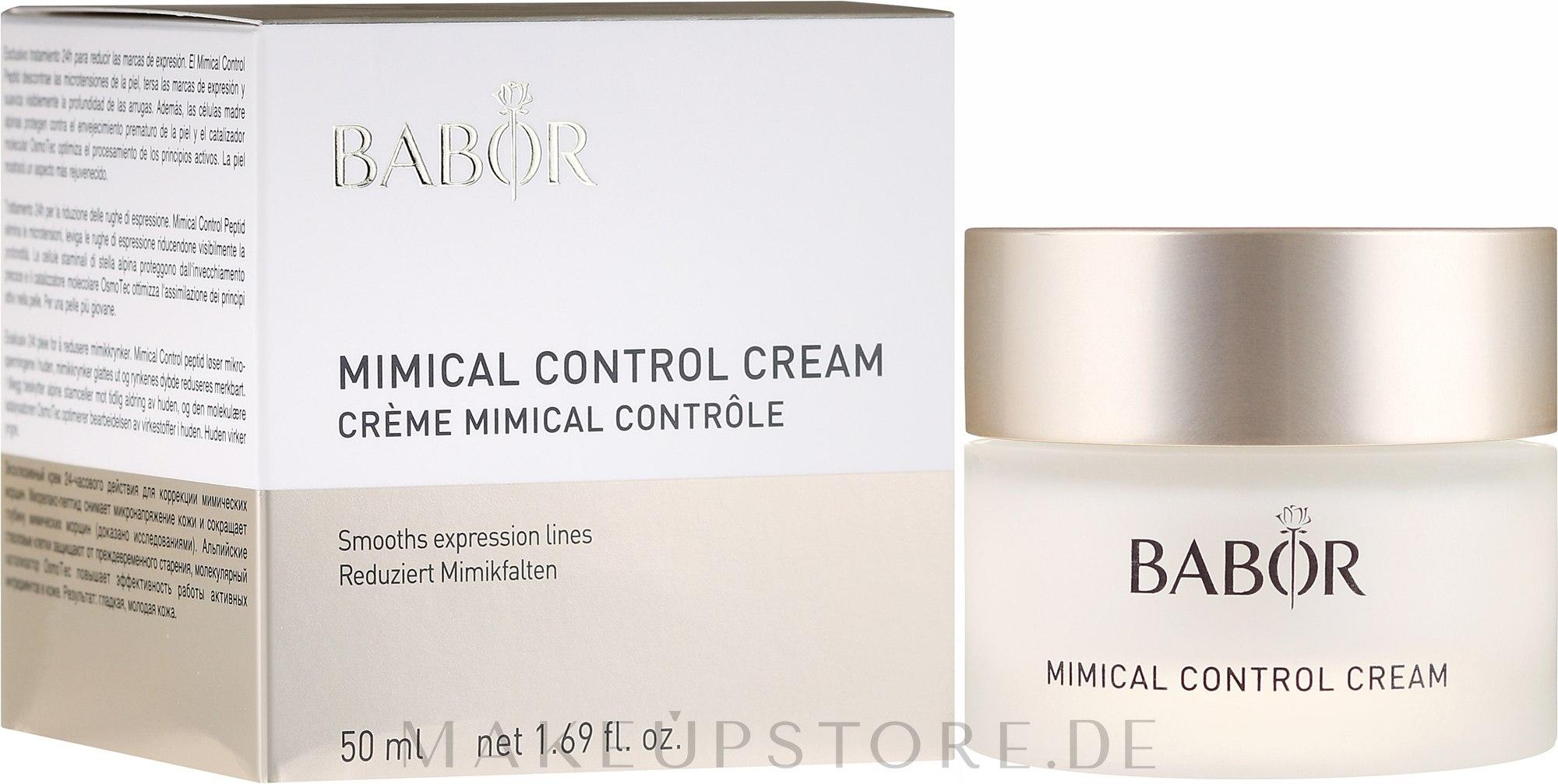 Leichte 24h Pflegecreme zur Reduzierung von Mimikfältchen - Babor Mimical Control Cream — Bild 50 ml
