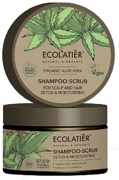 Entgiftendes Haar- und Kopfhaut-Peelingshampoo mit Bio-Aloe-Vera-Extrakt, Babassuöl und Vitaminen - Ecolatier Organic Aloe Vera Shampoo-Scrub — Bild N1