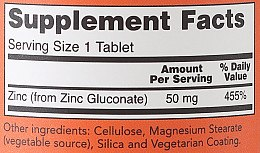 Zink 50 mg 250 Tabletten - Now Foods Zink — Bild N3