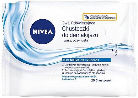 Erfrischende Make-up Reinigungstücher für Gesicht, Augen und Lippen mit Vitamin E - Nivea Aqua Effect — Bild N1