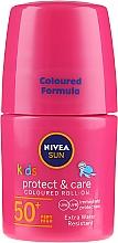 Sonnenschützendes gefärbtes Roll-on für Kinder rosa SPF 50+ - Nivea Sun Kids Protect & Care Coloured Roll-on Pink SPF 50+ — Bild N1