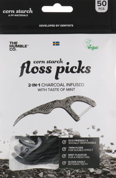 Zahnseide-Sticks mit Minze und Aktivkohle schwarz - The Humble Co. Dental Floss Picks — Bild N1