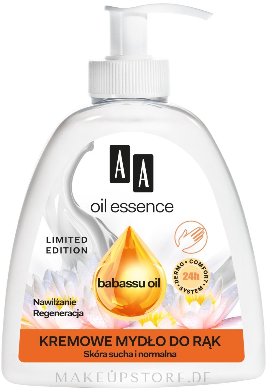 Cremige Handseife für trockene und normale Haut mit Babassuöl - AA Oil Essence Babassu Oil Hand Wash — Bild 285 ml