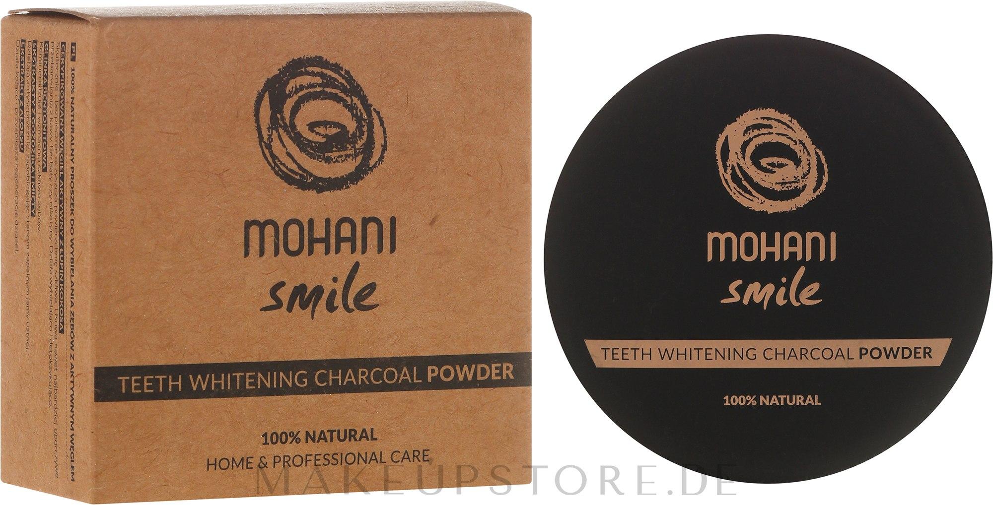 100% Natürliches bleichendes Zahnpulver mit Holzkohle - Mohani Smile Teeth Whitening Charcoal Powder — Bild 30 g