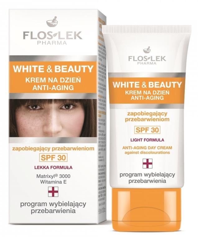 Aufhellende Anti-Aging Gesichtscreme gegen Pigmentflecken SPF 30 - Floslek White & Beauty Anti-Aging Day Cream SPF 30