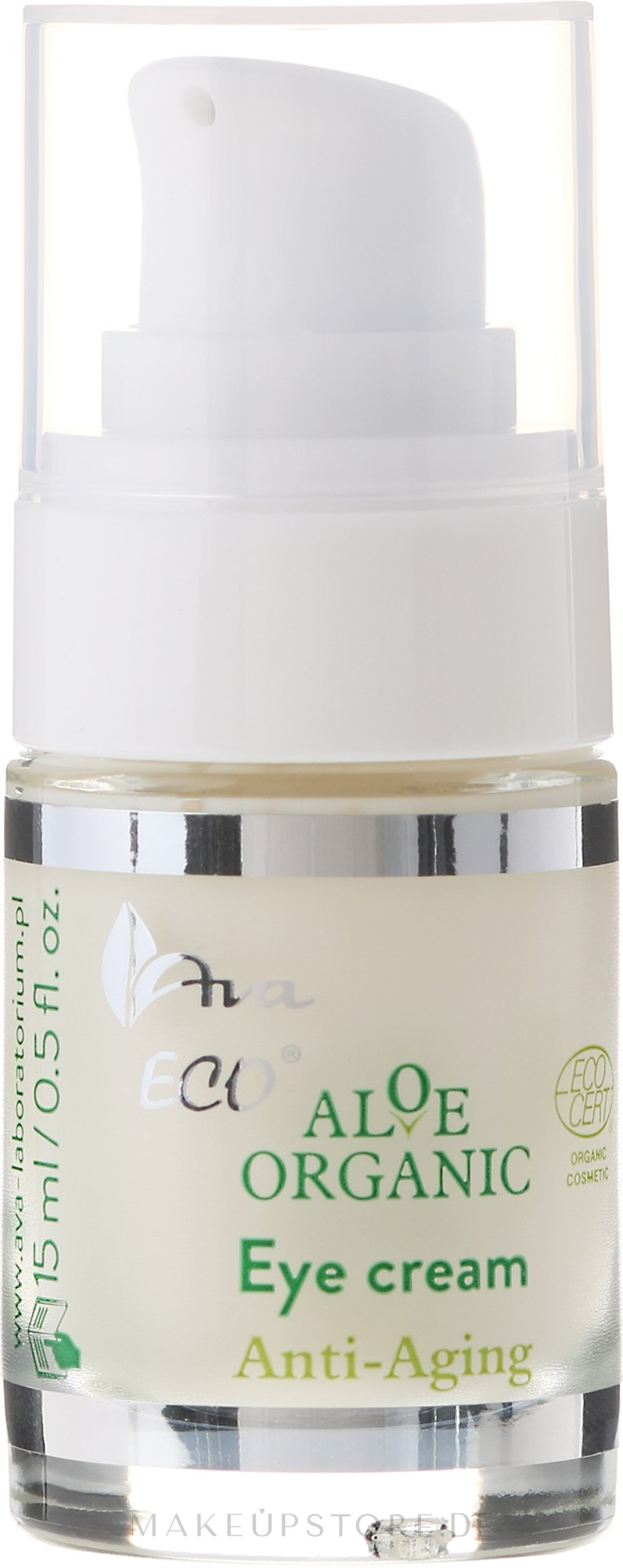Anti-Faltencreme für die Augenpartie - Ava Laboratorium Aloe Organiic Eye Cream — Bild 15 ml
