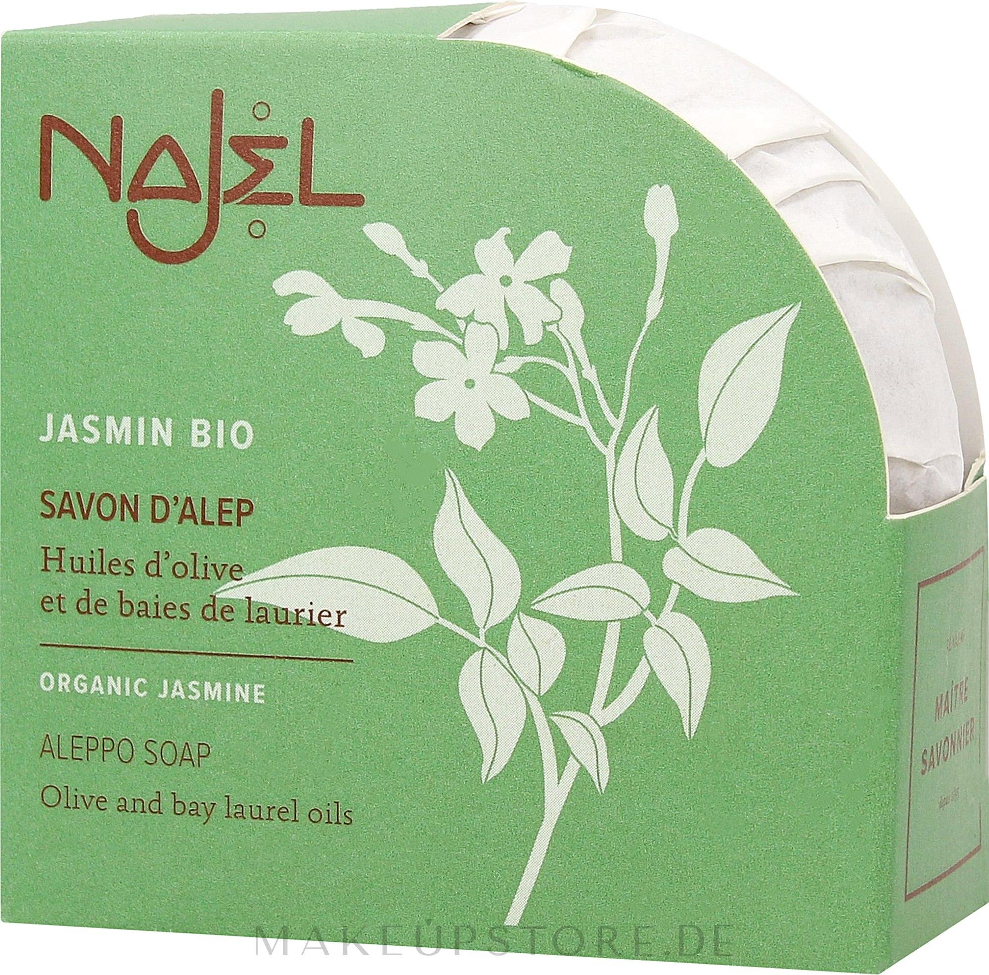 Natürliche Körperseife mit Bio Jasmin Duft - Najel Jasmin Aleppo Soap — Bild 100 g