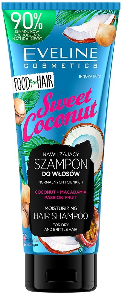Feuchtigkeitsspendendes Shampoo mit Kokosnuss, Macadamia und Passionsfrucht für trockenes und sprödes Haar - Eveline Cosmetics Food For Hair Sweet Coconut Shampoo — Bild 250 ml