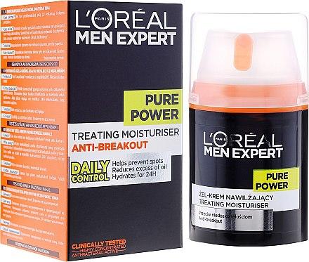 Feuchtigkeitsspendende Gesichtsgel-Creme Anti-Hautunreinheiten für Männer - L'Oreal Paris Men Expert Pure Power — Bild N1