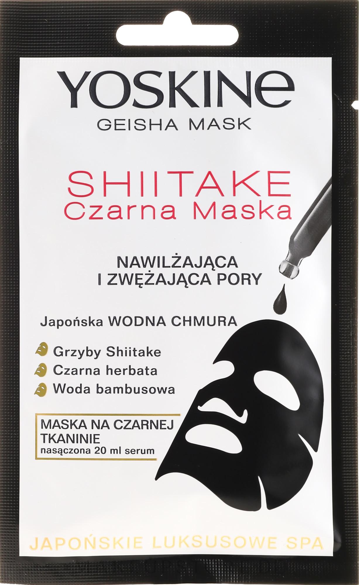Porenverengende schwarze Tuchmaske - Yoskine Geisha Mask Shiitake — Bild 20 ml