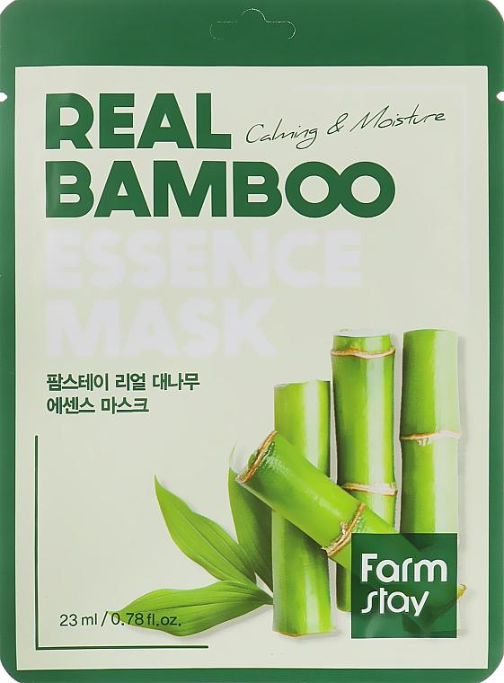 Beruhigende und feuchtigkeitsspendende Tuchmaske für das Gesicht mit Bambusextrakt - Farmstay Real Bamboo Essence Mask — Bild N1