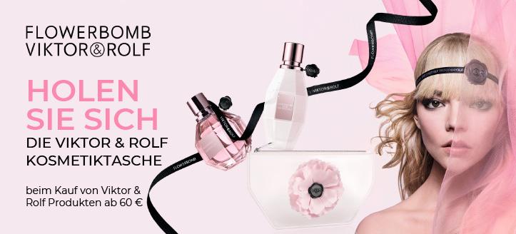 Bei Bestellung von Viktor & Rolf Produkten ab 60 € bekommen Sie eine Kosmetiktasche geschenkt