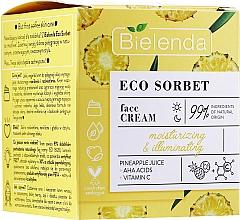 Feuchtigkeitsspendende und aufhellende Gesichtscreme mit Ananassaft, AHA-Säuren und Vitamin C - Bielenda Eco Sorbet Moisturizing & Brightening Face Cream — Bild N1