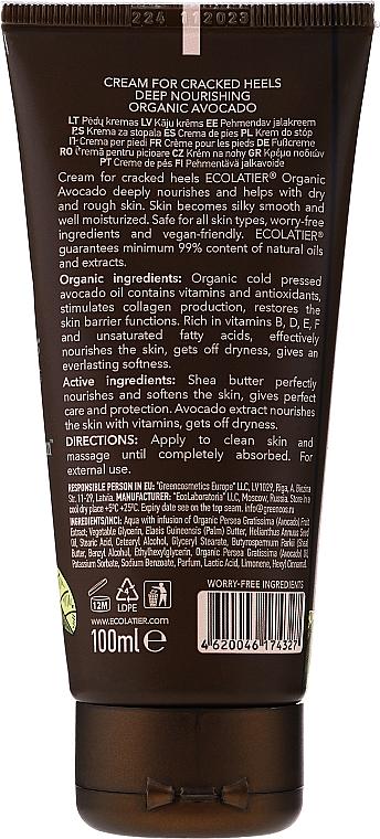 Tief nährende Creme für rissige Fersen mit Bio Avocadoöl, Sheabutter und Avocadoextrakt - Ecolatier Organic Avocado Cream For Cracked Heels — Bild N2