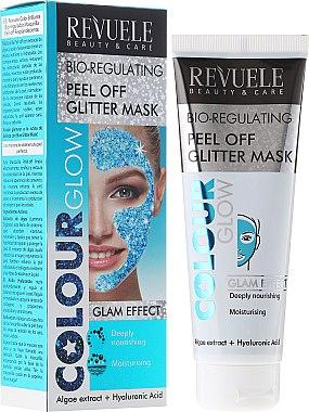 Feuchtigkeitsspendende Bio-Regulieringsmaske für Gesicht mit Algenextrakt und Hyaluronsäure - Revuele Color Glow Glitter Mask Pell-Off Bio-regulating