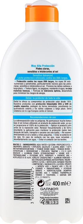 Sonnenschutzlotion für empfindliche Haut SPF 50+ - Garnier Ambre Solaire Sensitive Advanced SPF 50+ — Bild N4