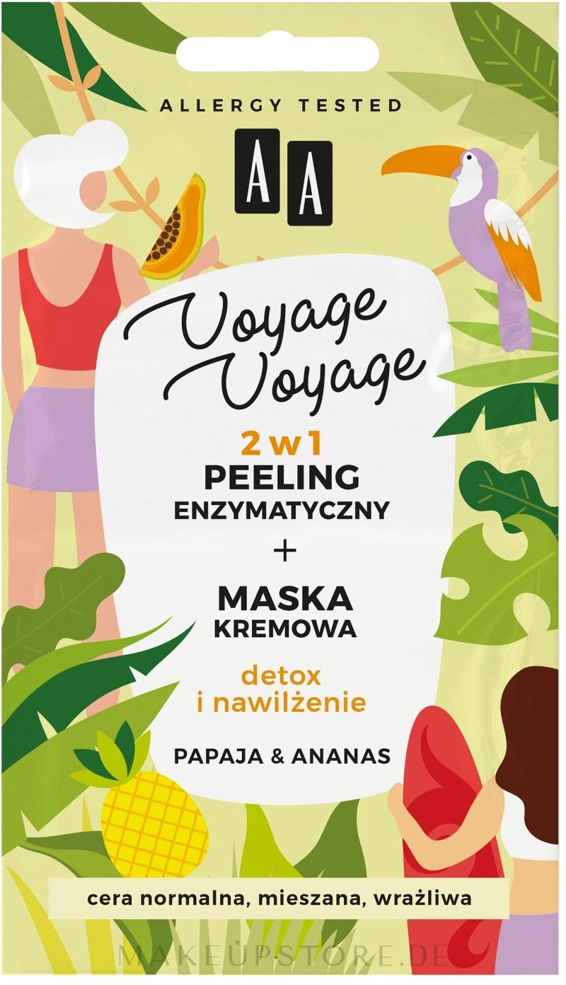 2in1 Exfolierende Creme-Maske für das Gesicht mit Papaya und Ananas - AA Voyage Voyage 2 In 1 — Bild 2 x 5 ml