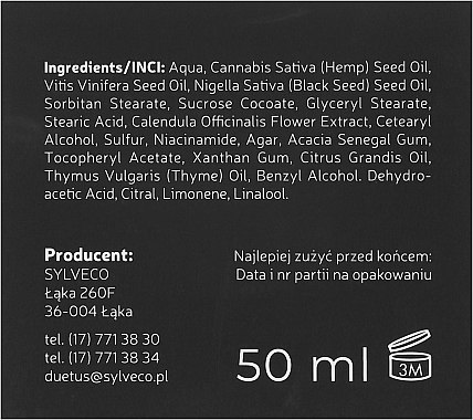 Mattierende Nachtcreme mit Hanföl, Vitamin B3 und Aktivkohle - Duetus — Bild N3