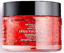 Düfte, Parfümerie und Kosmetik Feuchtigkeitsspendende Gesichtsmaske mit Wassermelonenextrakt - Makeup Revolution Skincare X Jake Jamie Feed Your Face Watermelon Hydrating Face Mask