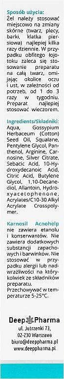 Gesichtsgel mit Silberionen und Carnosin für delikate und zu Akne neigende Haut - Deep Pharma Karnosil Acnohelp — Bild N3