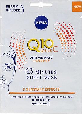 Energetisierende Anti-Falten Tuchmaske - Nivea Q10 Plus Vitamin C Anti-wrinkel+Energy Mask — Bild N1