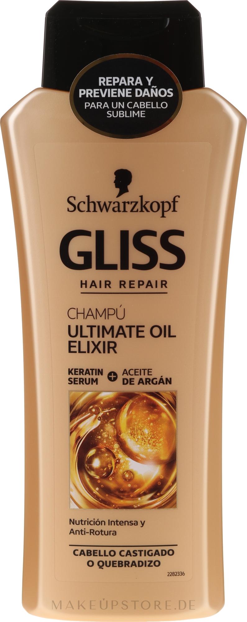 Intensiv reparierendes Shampoo für überstrapaziertes, strohiges Haar - Schwarzkopf Gliss Kur Ultimate Oil Elixir Shampoo — Bild 400 ml