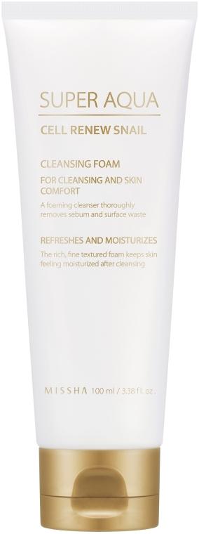 Erfrischender und feuchtigkeitsspendender Gesichtsreinigungsschaum mit 3% Schneckenschleimextrakt - Missha Super Aqua Cell Renew Snail Cleansing Foam