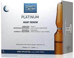 Düfte, Parfümerie und Kosmetik Feuchtigkeitsspendender, erneuerende und straffende Anti-Aging Gesichtsbooster für die Nacht - MartiDerm Platinum Night Renew Ampollas