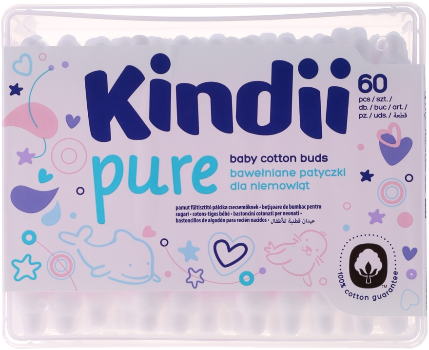 Baby Wattestäbchen Kindi 60 St. - Cleanic Kids Care Cotton Buds