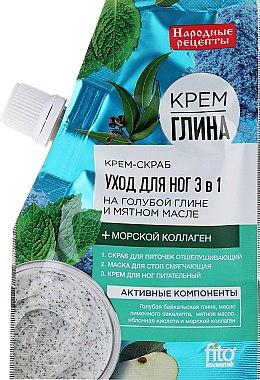 Fuß-Cremepeeling mit blauem Ton und Minzöl 3in1 - Fito Kosmetik Volksrezepte — Bild N1