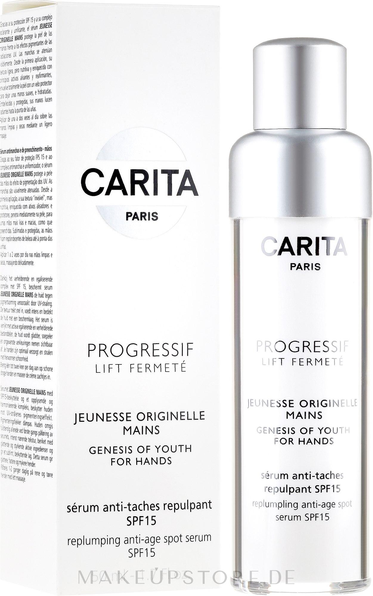 Aufhellendes Handserum SPF 15 - Carita Haute Beaute Corps Hand Cream SPF 15 — Bild 50 ml