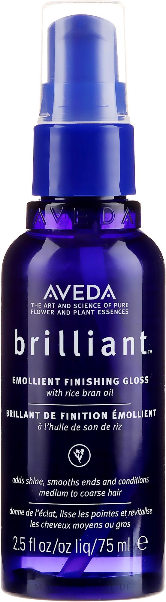 Finish-Spray für Glanz und glatte Haarspritzen mit Reiskleieöl - Aveda Brilliant Emollient Finishing Gloss — Bild 75 ml