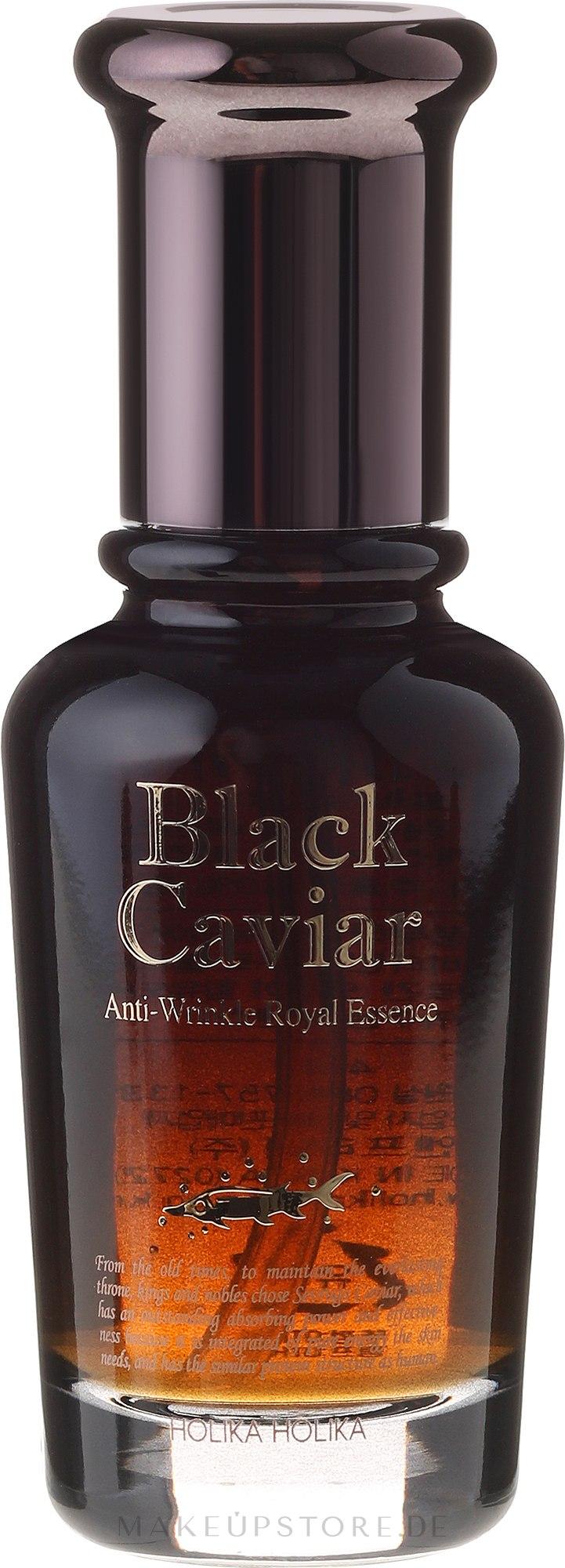 Anti-Aging Essenz für das Gesicht mit schwarzem Kaviar Extrakt - Holika Holika Black Caviar Anti-Wrinkle Royal Essence — Bild 45 ml