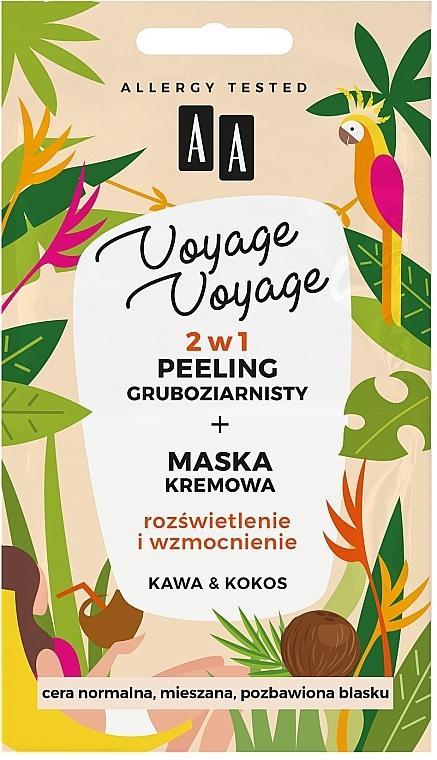 Creme-Maske für das Gesicht mit Kaffee und Kokosnuss - AA Voyage Voyage 2 In 1 — Bild N1