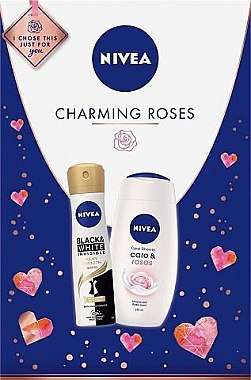 Körperpflegeset - Nivea Charming Roses (Duschgel 250ml + Deospray 150ml) — Bild N1
