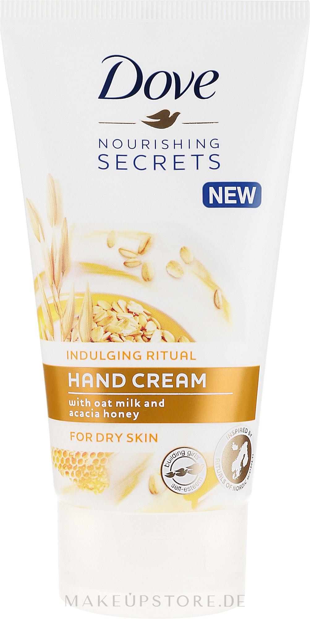 Pflegende Handcreme mit Hafermilch und Honig - Dove Nourishing Secrets Indulging Ritual Hand Cream — Bild 75 ml