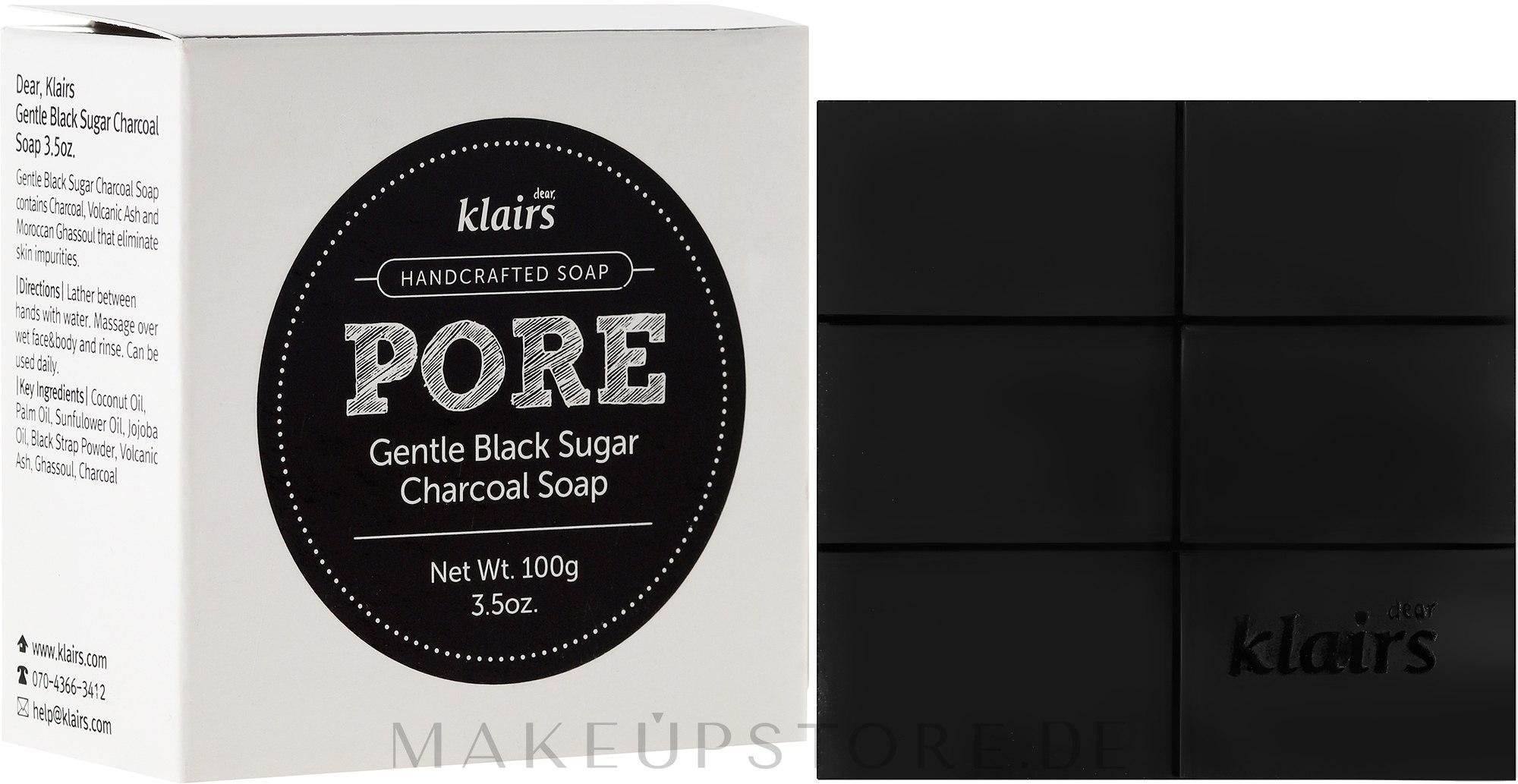Handgemachte Seife mit Aktivkohle - Klairs Gentle Black Sugar Charcoal Soap — Bild 100 g