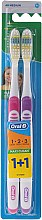 Düfte, Parfümerie und Kosmetik Zahnbürste mittel 1 2 3 Maxi Clean lila, rosa 2 St. - Oral-B 1 2 3 Maxi Clean 40 Medium 1+1