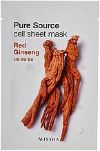 Düfte, Parfümerie und Kosmetik Regenerierende Tuchmaske mit Ginseng-Extrakt - Missha Pure Source Sheet Mask Red Ginseng