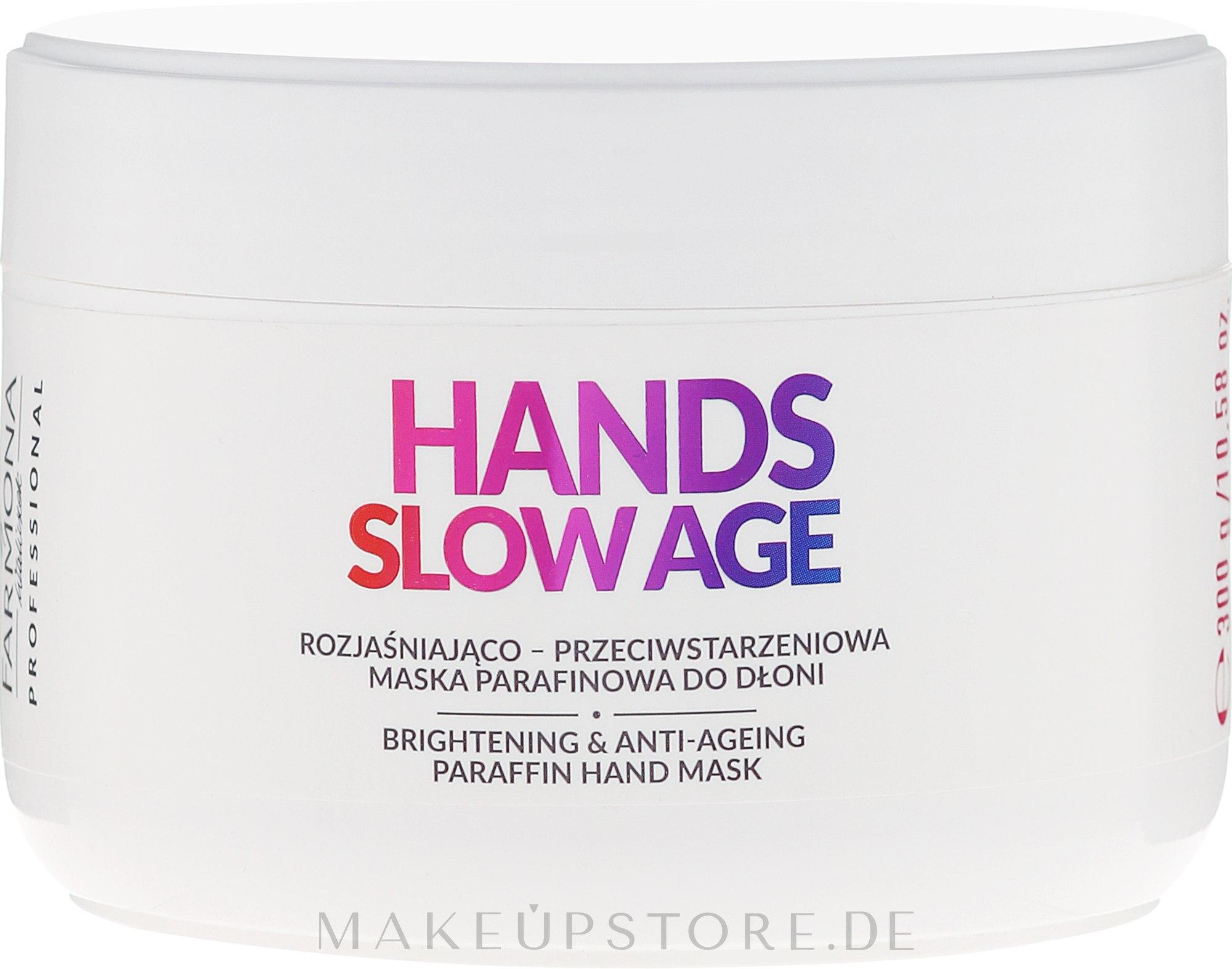 Aufhellende Anti-Aging Handmaske mit Paraffin gegen Pigmentflecken - Farmona Professional Hands Slow Age Brightening And Anti-ageing Paraffin Hand Mask — Bild 300 ml