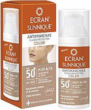 Düfte, Parfümerie und Kosmetik Getöntes Sonnenschutzfluid für das Gesicht gegen Pigmentflecken SPF 50+ - Ecran Sunnique Antimanchas Color Spf50+