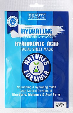 Feuchtigkeitsspendende Tuchmaske mit Hyaluronsäure - Beauty Formulas — Bild N1
