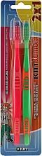 Düfte, Parfümerie und Kosmetik Kinderzahnbürste grün, rot 2 St. - Kin Junior Toothbrush Pack