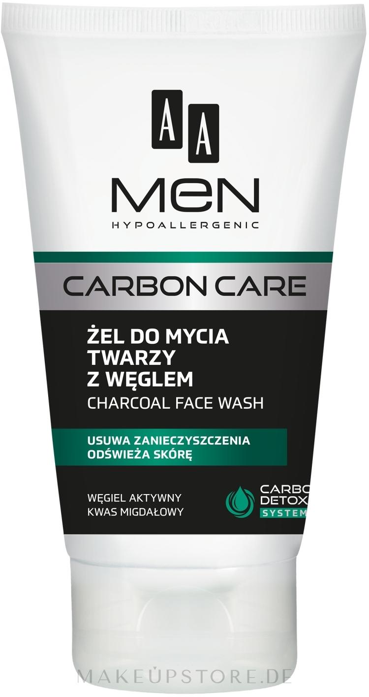 Gesichtsreinigungsgel mit Aktivkohle - AA Men Carbon Care Charcoal Face Wash — Bild 150 ml