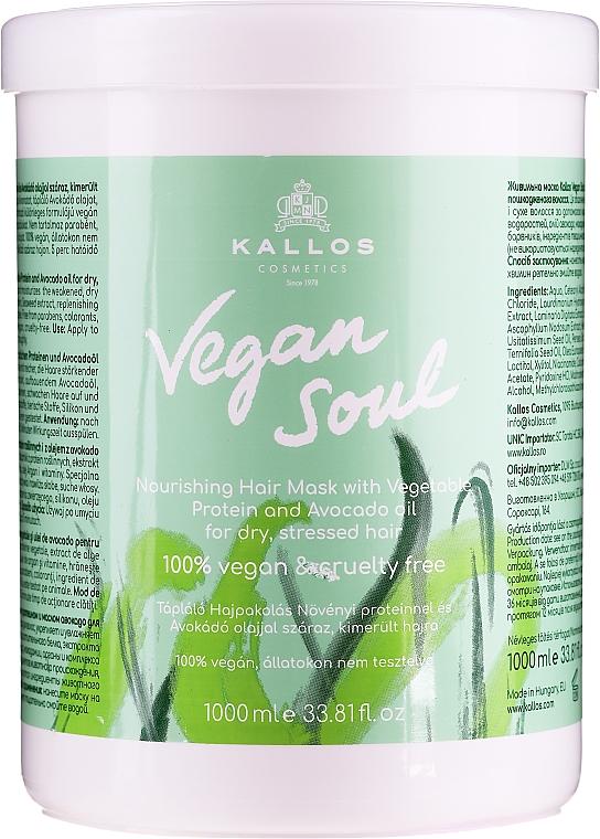 Pflegende Haarmaske mit pflanzlichen Proteinen und Avocadoöl - Kallos Cosmetics KJMN Vegan Soul Nourishing Hair Mask — Bild N1