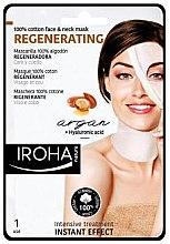Düfte, Parfümerie und Kosmetik Regenerierende Tuchmaske für Gesicht und Hals mit Arganöl und Hyaluronsäure - Iroha Nature Regenerating Argan Oil 100% Cotton Face & Neck Mask