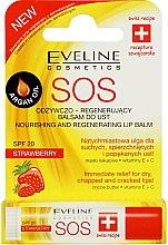 """Düfte, Parfümerie und Kosmetik Regenerierender Lippenbalsam """"Erdbeere"""" mit Arganöl, Kokosöl und Vitamin E+C - Eveline Cosmetics Argan Oil Sos"""