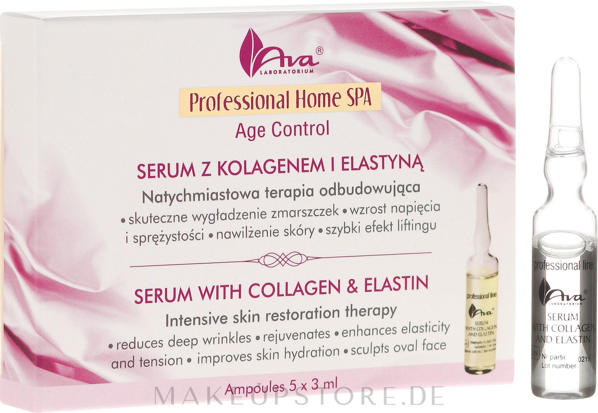 Straffendes Gesichtsserum mit Kollagen und Elastin - Ava Laboratorium Home SPA With Collagen & Elastin Serum — Bild 5 x 3 ml