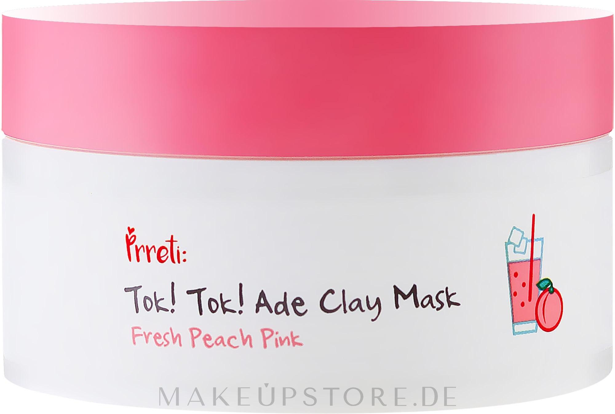 Erfrischende Tonmaske für Gesicht mit Pfirsichextrakt - Prreti Tok!Tok! Ade Clay Mask Fresh Peach Pink — Bild 105 g