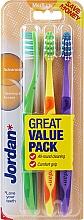 Düfte, Parfümerie und Kosmetik Zahnbürste mittel Advanced grün, gelb, violett 3 St. - Jordan Advanced Medium Toothbrush